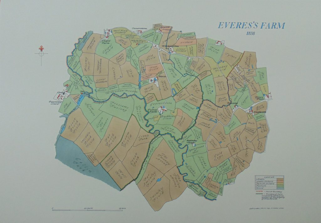 Oval decorative map, showing Everess Farm, dated 1838